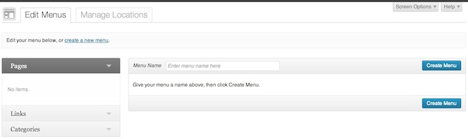 WordPress custom menus screenshot.
