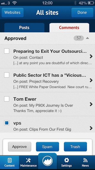 ManageWP WordPress iOS App