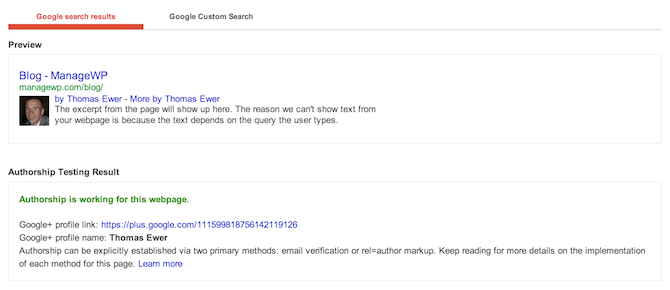 Google Plus Authorship Verification