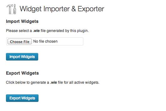 Widget Exporter and Importer