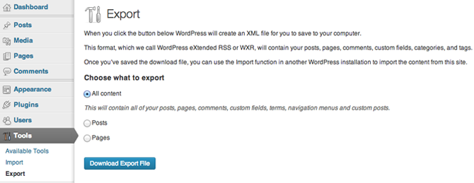 WordPress Export