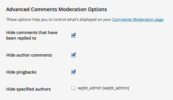 Advanced Comments Moderation settings