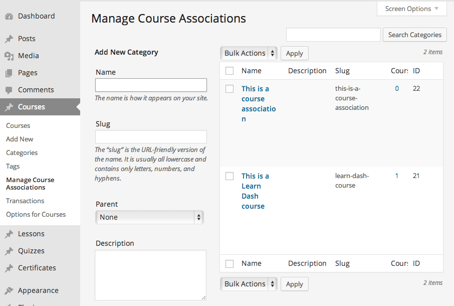 "A course title became an ""Association"" by default."