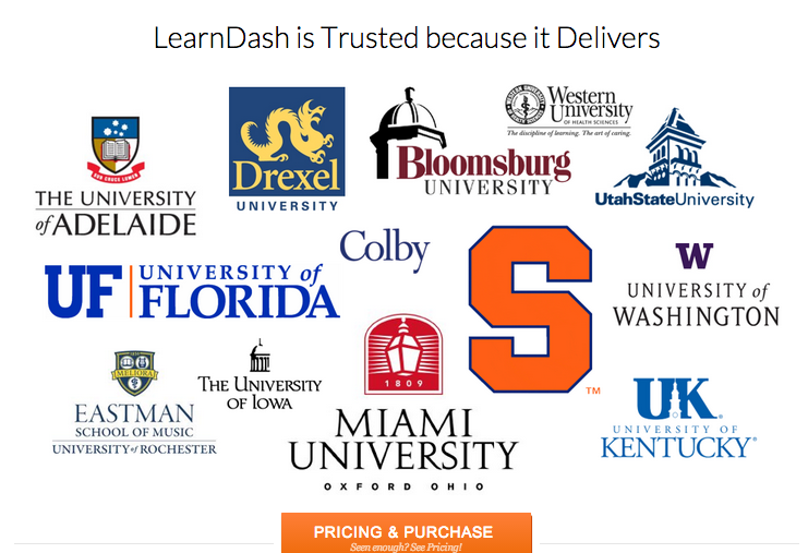 logos of organizations using learndash course management software