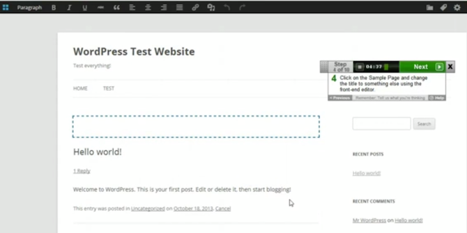 Wordpress Front End Editor Test