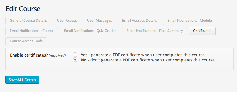 wp-courseware-certificate settings
