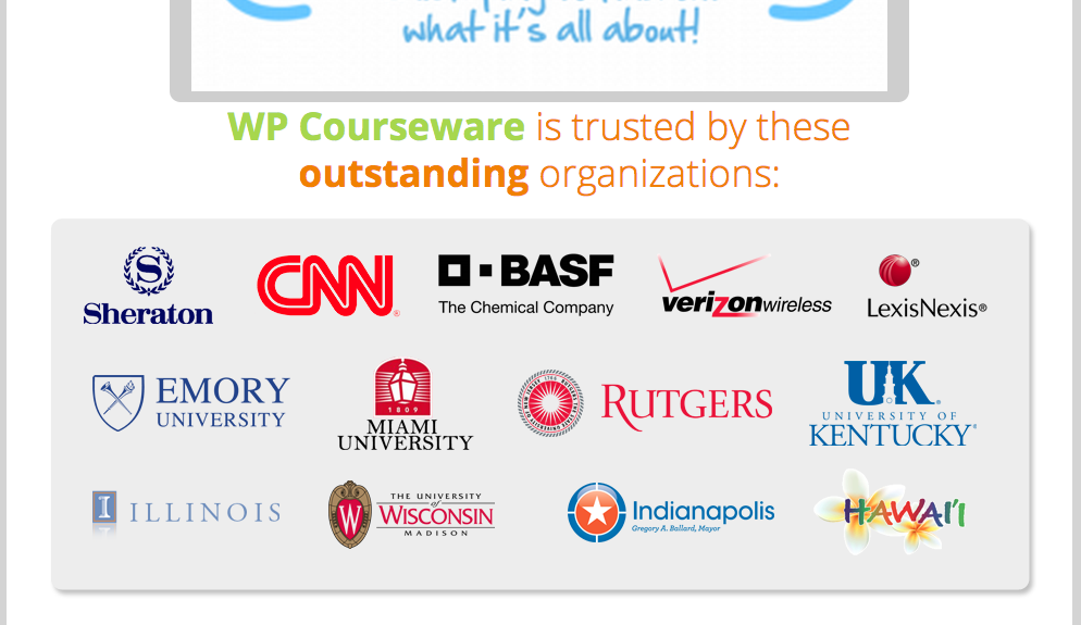 wp courseware learning management system client logos