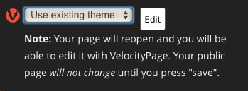 VelocityPage Theme Selection