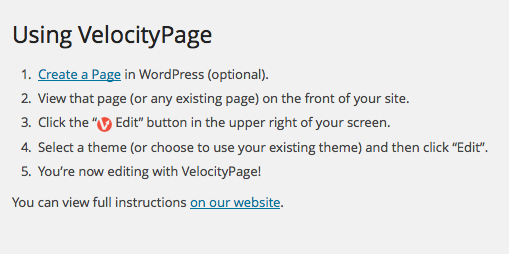 VelocityPage Settings