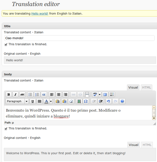 WPML's side-by-side translation editor