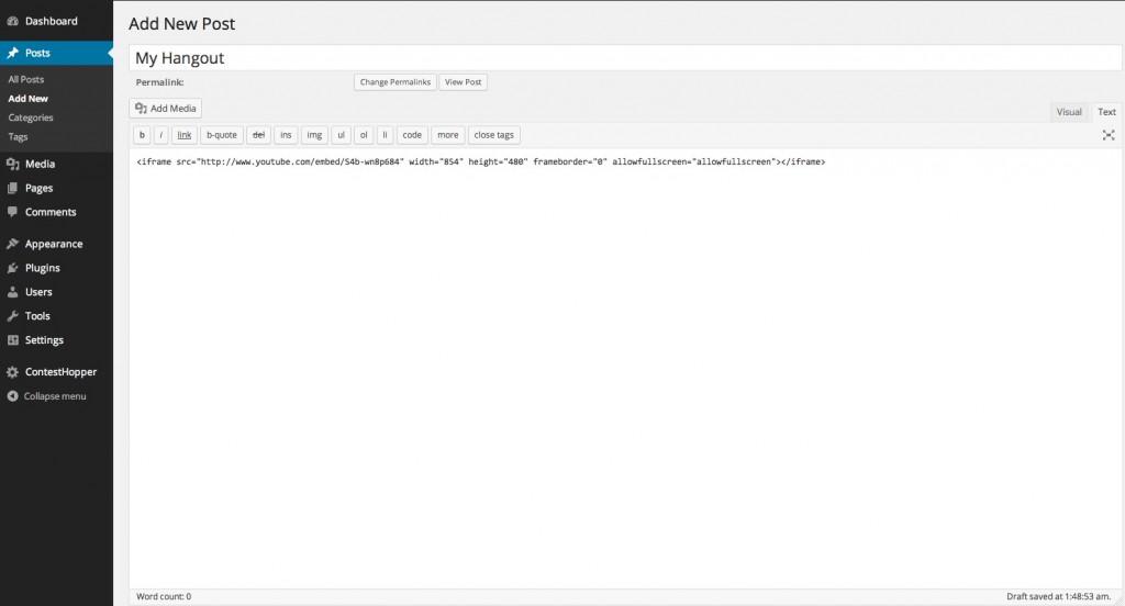 Hangouts on WordPress Text