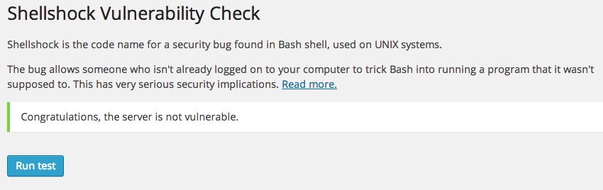 Sheelshock Vulnerability check WordPress plugin