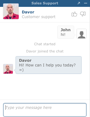 Live chat in action