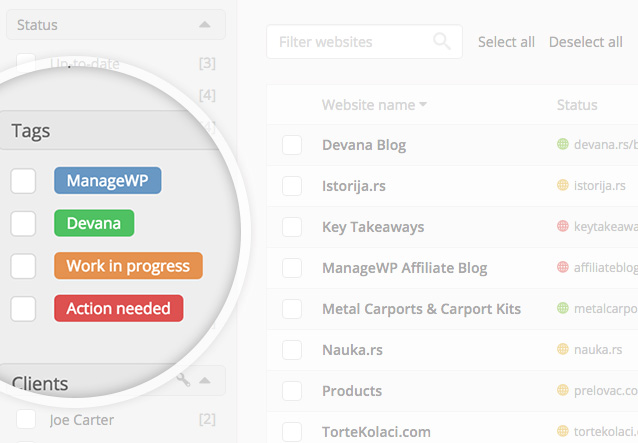 ManageWP - Tags & Clients