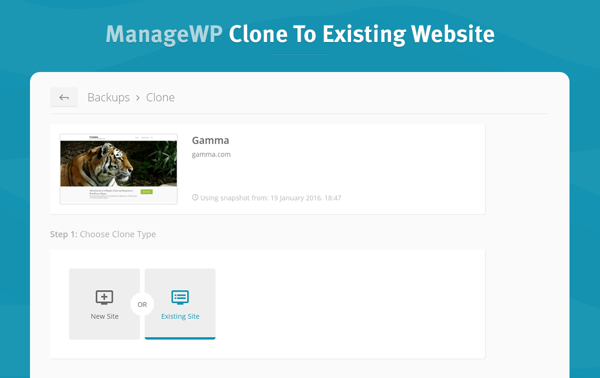 1 clone-to-existing-website