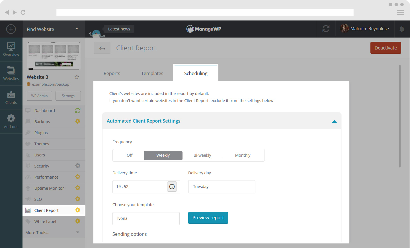Automated Client Report from Tool