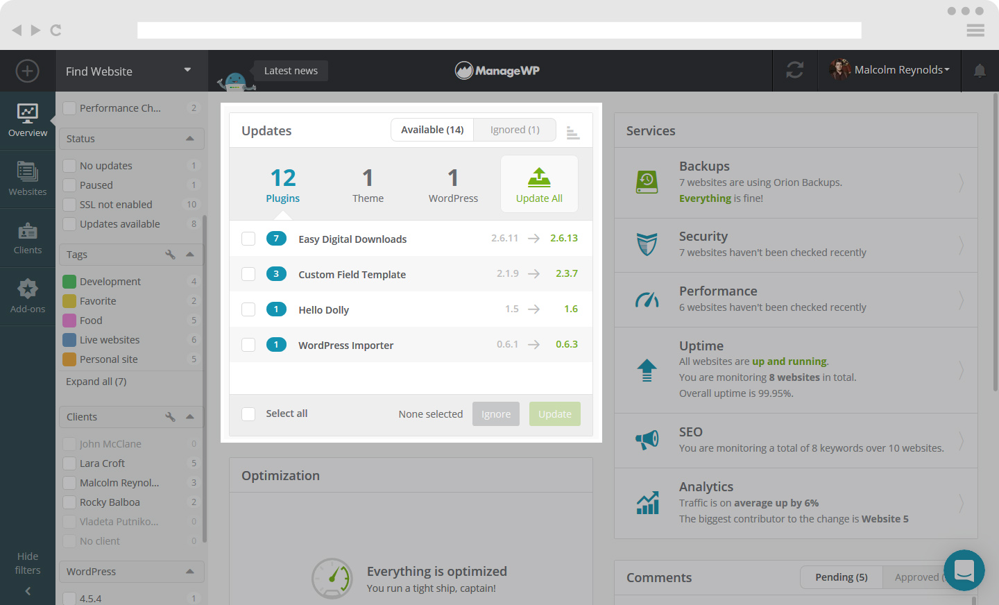 Get to know your ManageWP dashboard - ManageWP