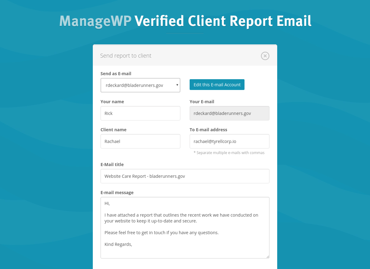 verified client report email