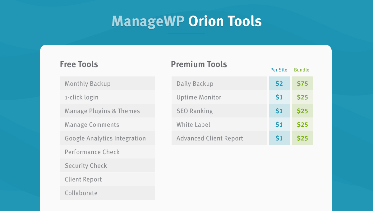 Orion tools and bundles