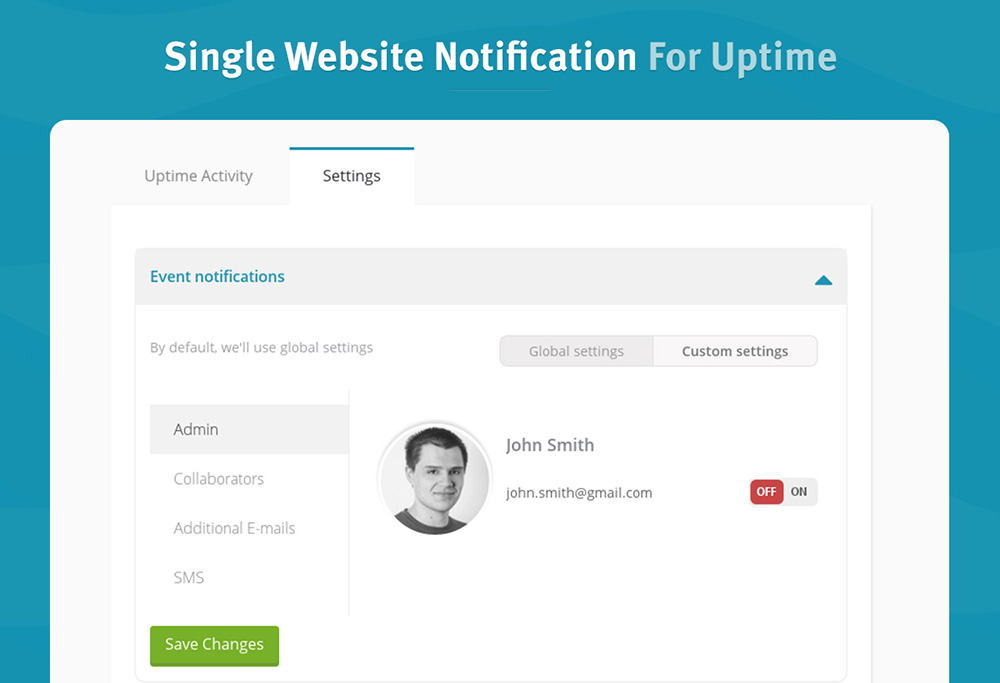 Single Website Notification For Uptime