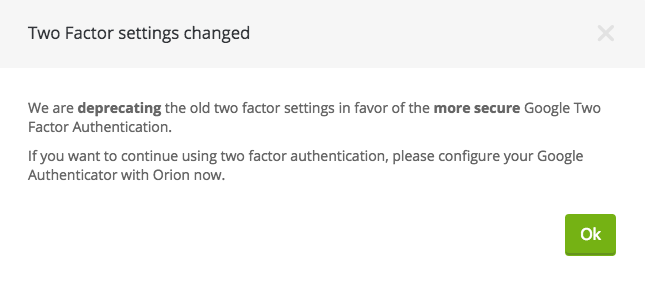 Switch to new two factor authentication