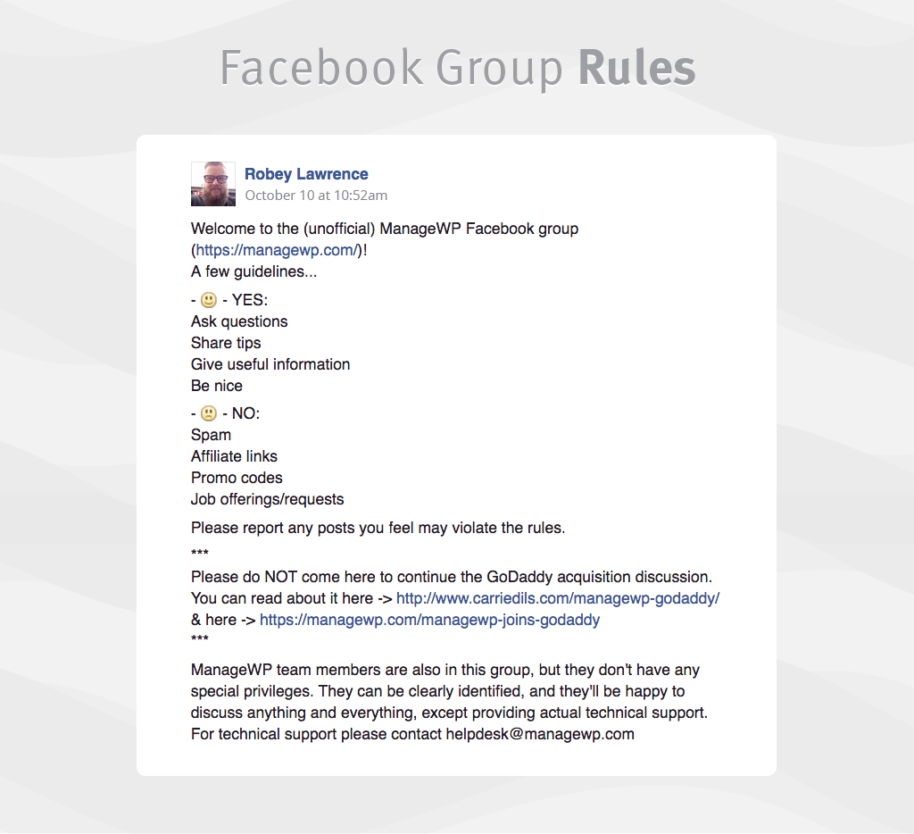 ManageWP Facebook group