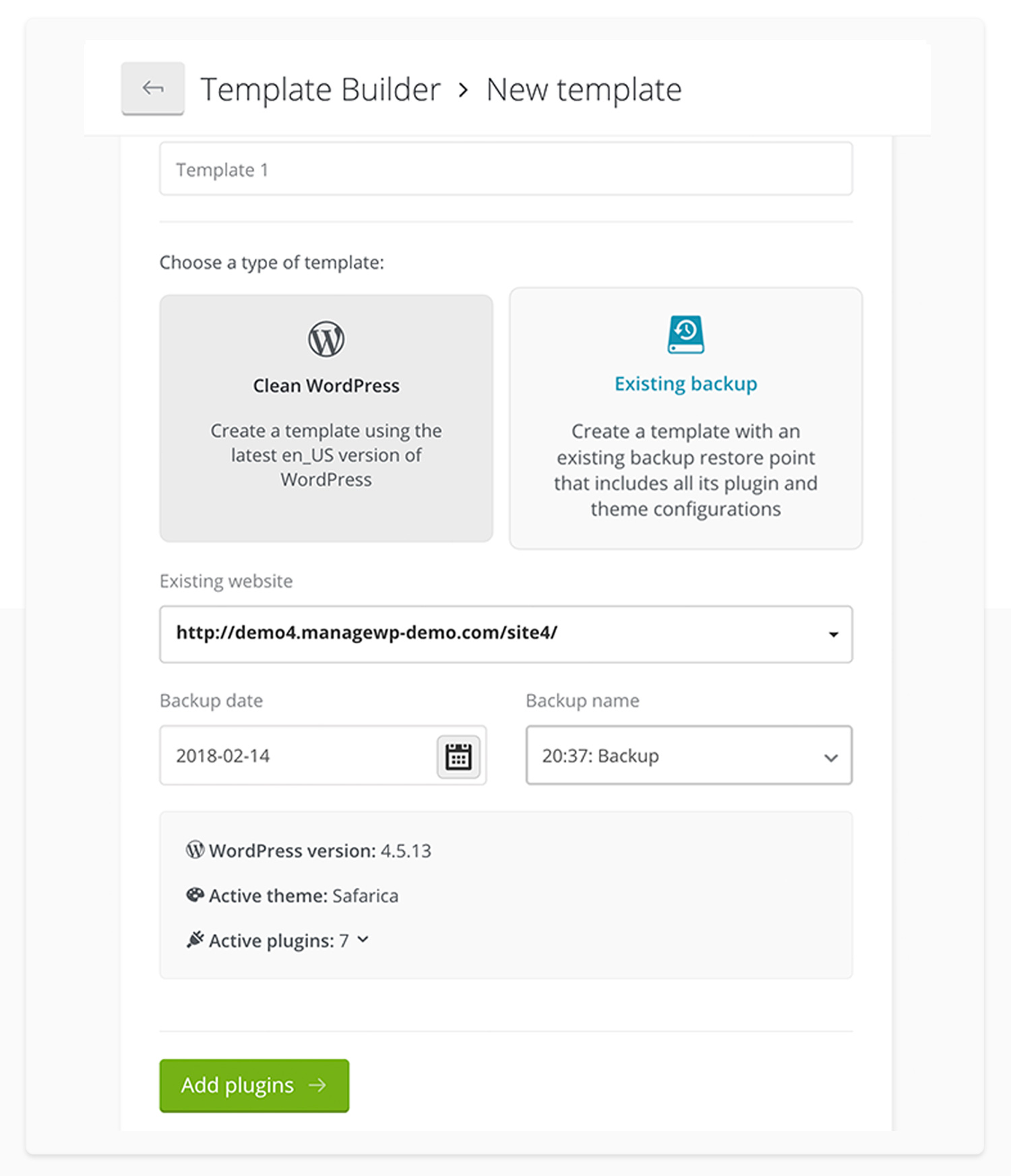 Template Builder Managewp