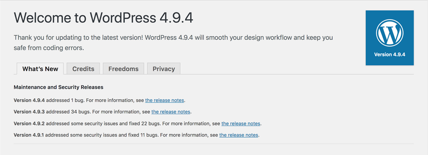 wordpress update 4.9.4