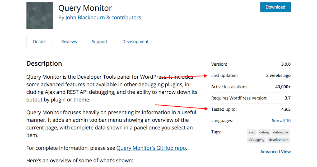 Query Monitor in WordPress.org Directory