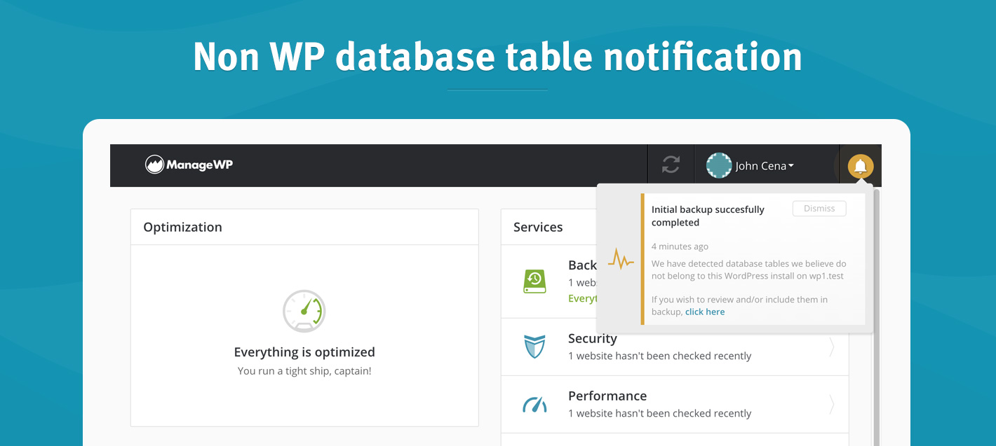 Non wp database table notification