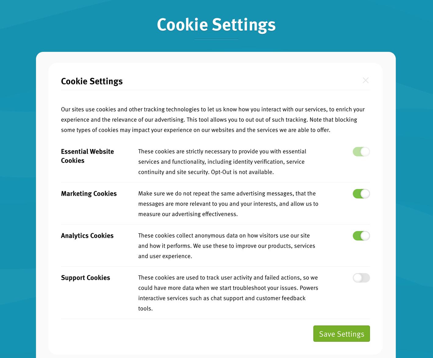 Cookie Settings Option