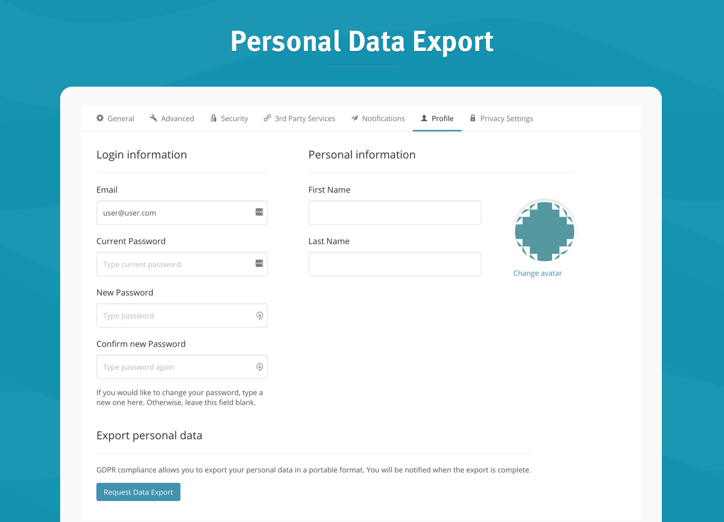 Personal Data export