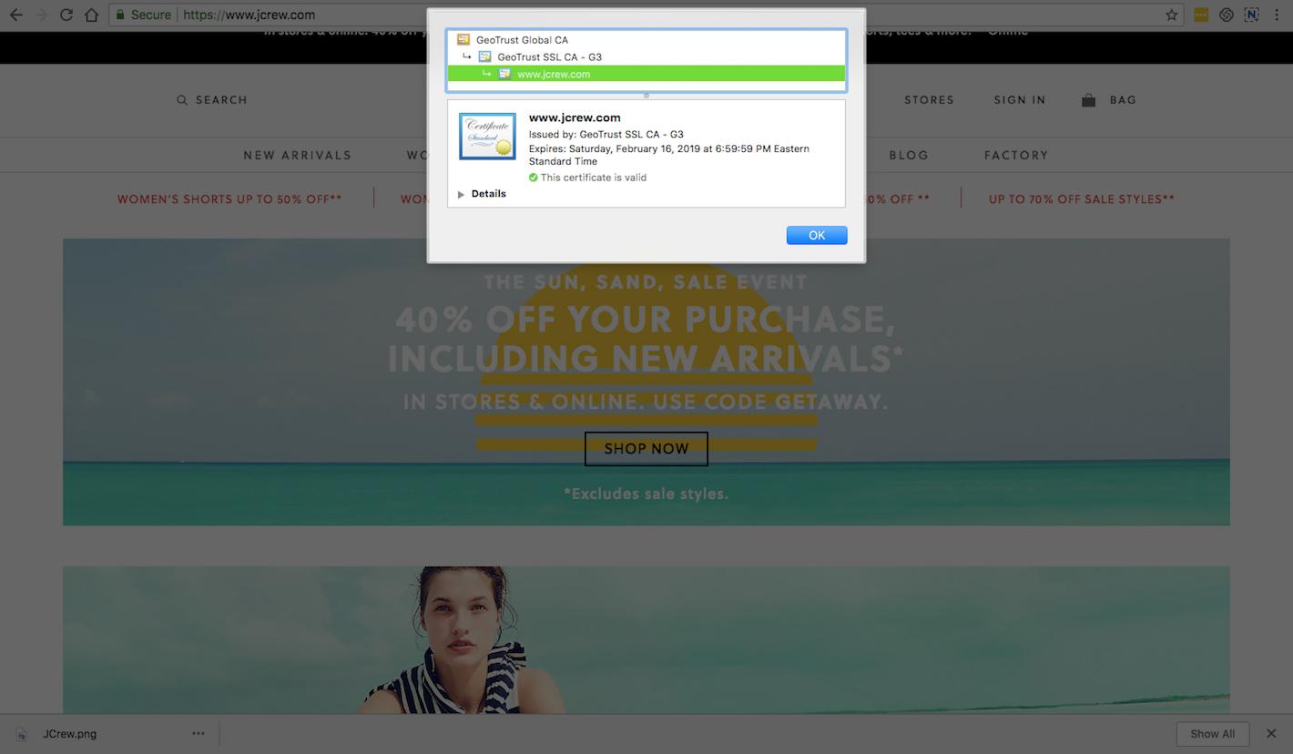 JCrew SSL Details