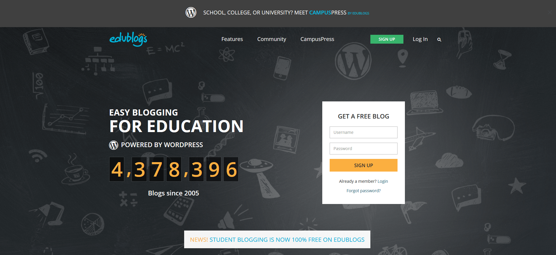 WordPress Multisite Example - Edublogs