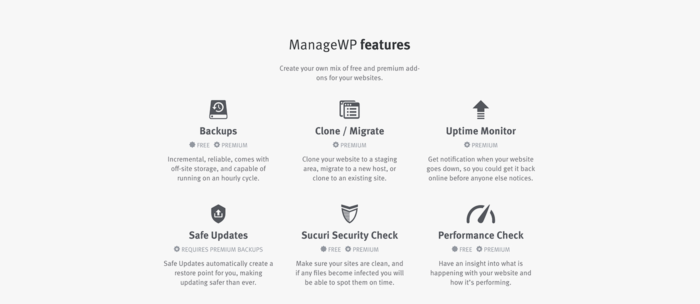 ManageWP features