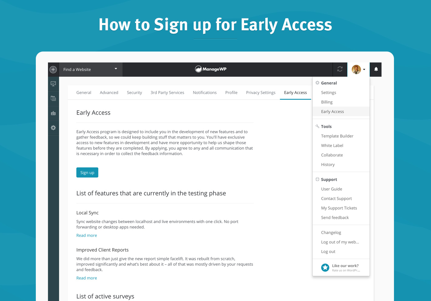 How to Sign up for Early Access