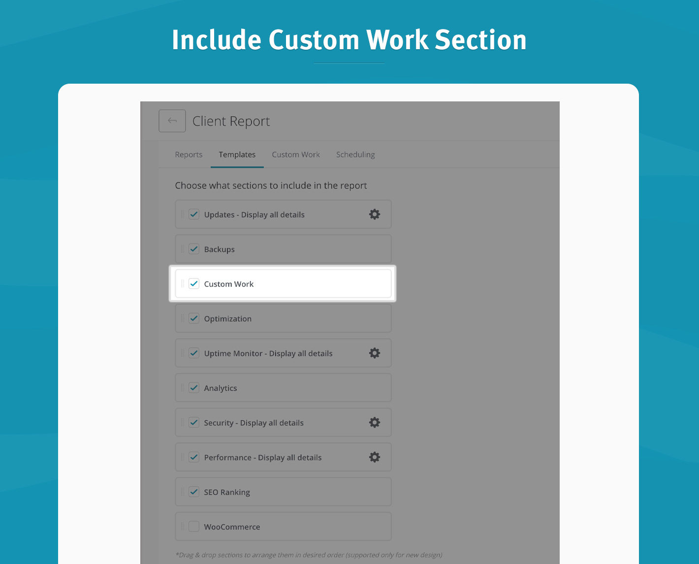 Include Custom Work Section