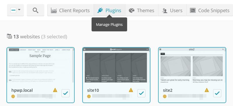 Managing your sites' plugins.