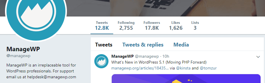 ManageWP's Twitter account.