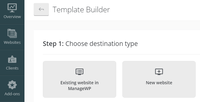 Choosing what type of template to create.