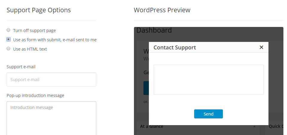Configuring a support widget for your website.