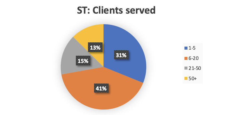 A pie chart showing the number of clients participants offering one tier of services have.