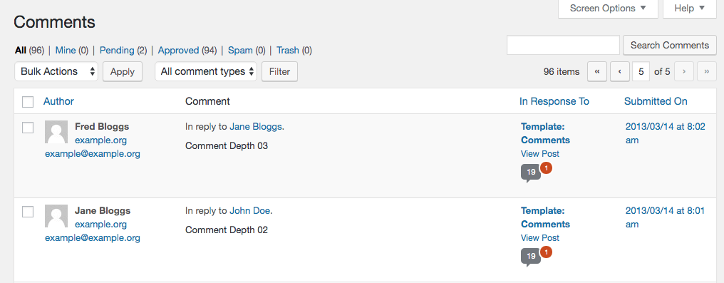 The Comments section on the WordPress back end.