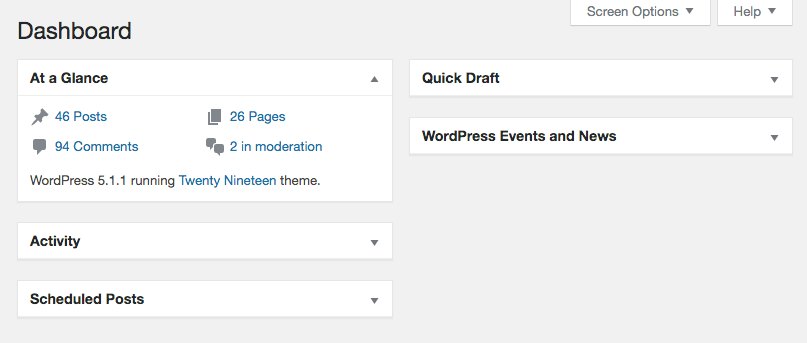 The At a Glance widget in the WordPress dashboard.