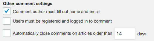 WordPress' other comment settings.