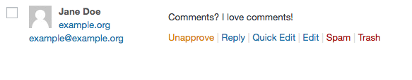 A published comment on the WordPress back end.