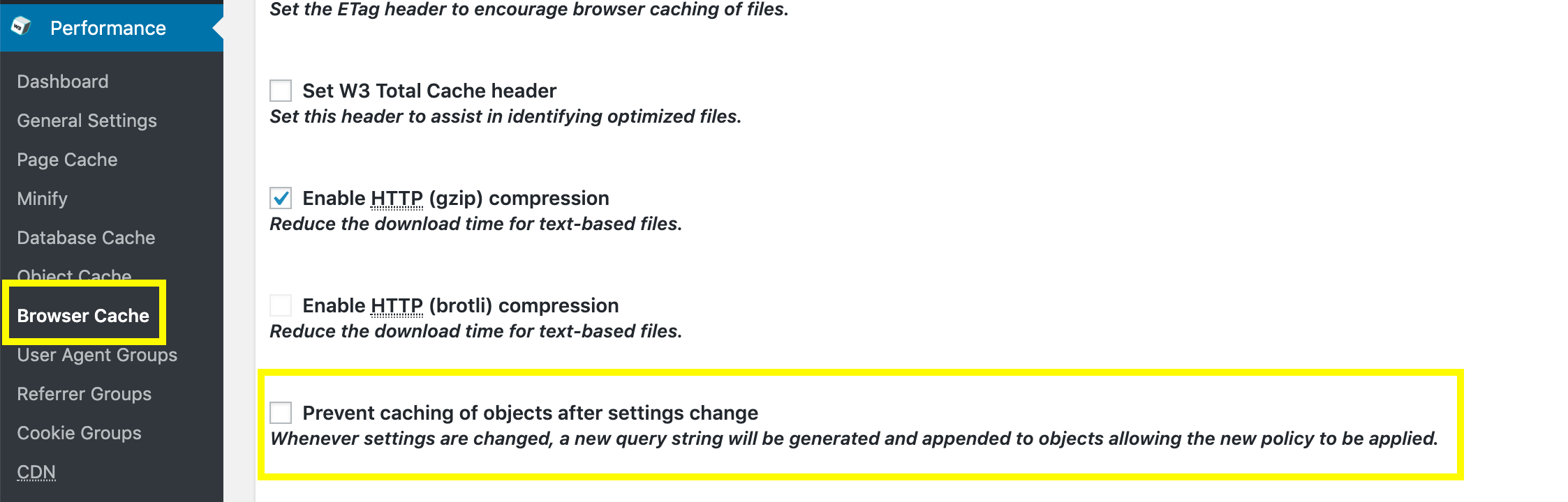 The setting to remove query strings using W3 Total Cache.