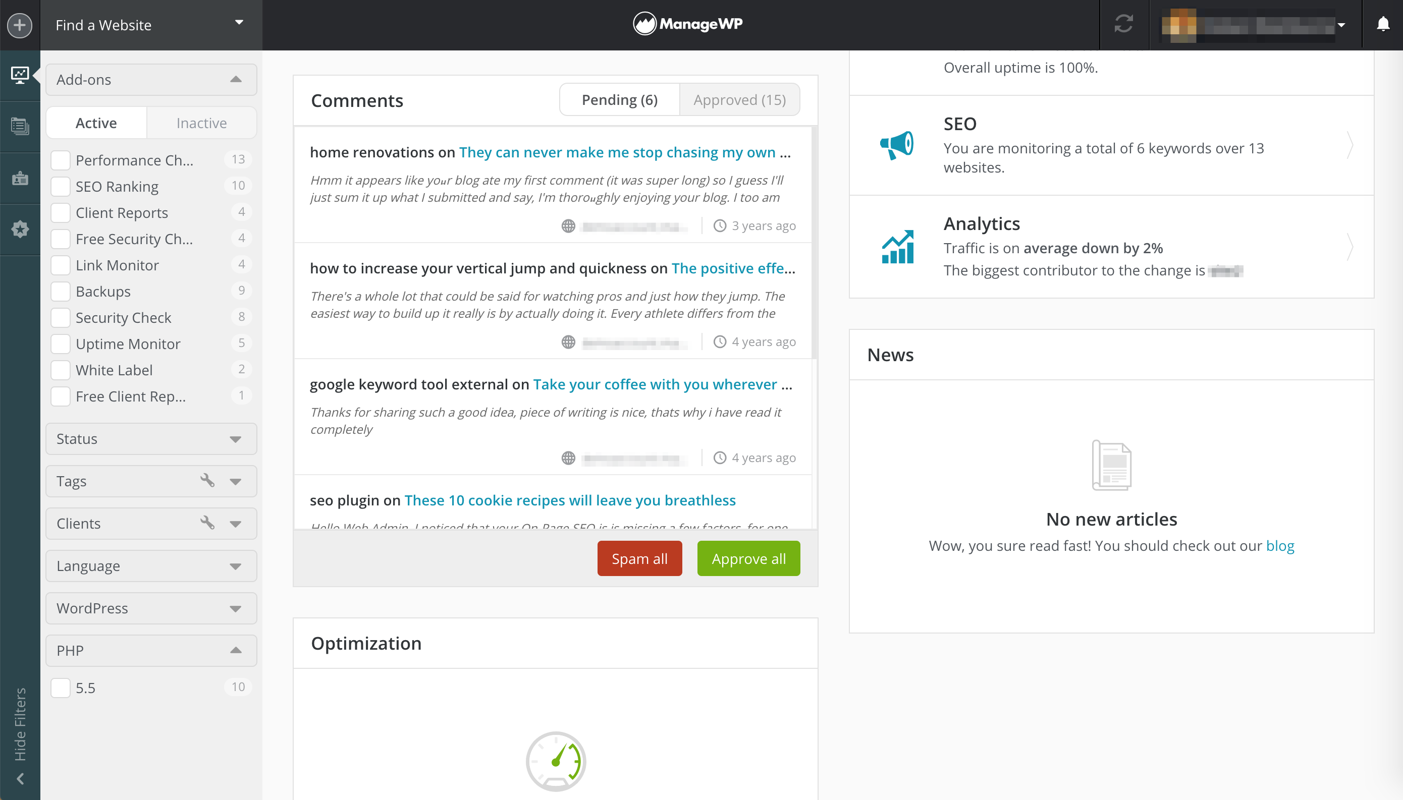 The ManageWP comment manager.