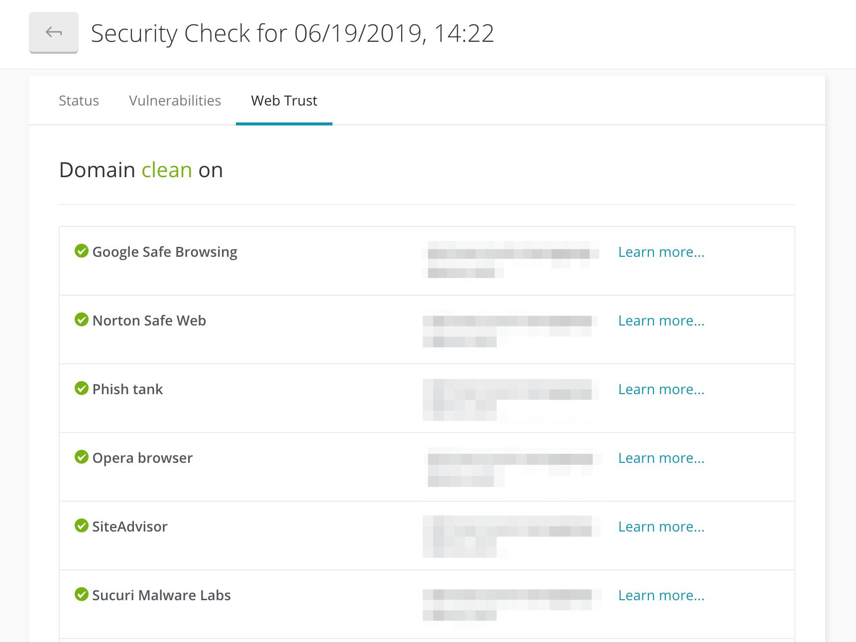ManageWP's Web Trust tool.