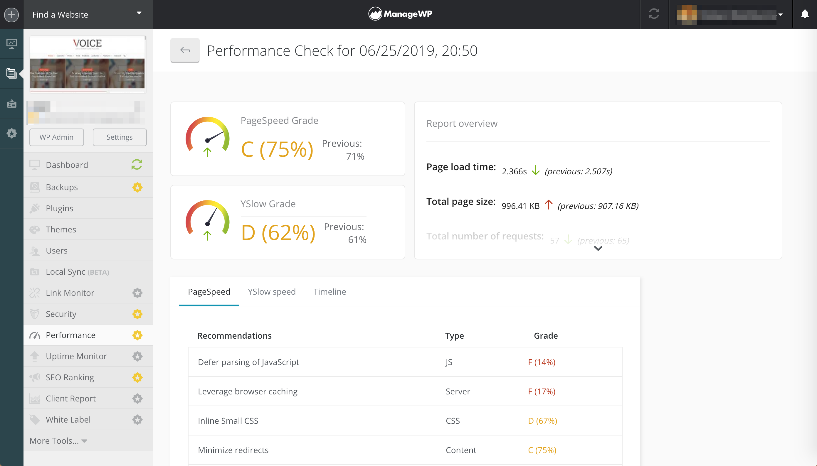 The results of a ManageWP performance check.
